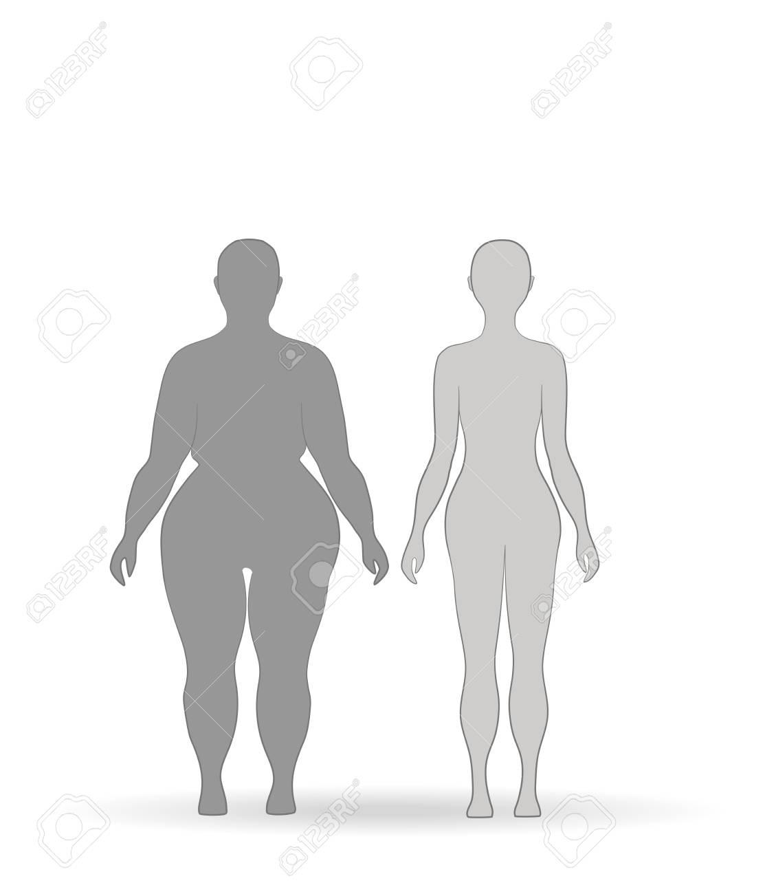 Fette Beine vor und nach dem Abnehmen