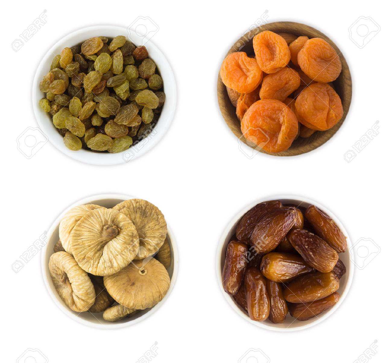 Collage of different dried fruits  Raisins, dates, dried apricots,