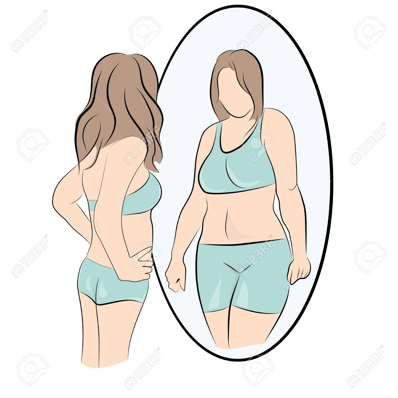 girl looks fat vector illustration. - 114159660