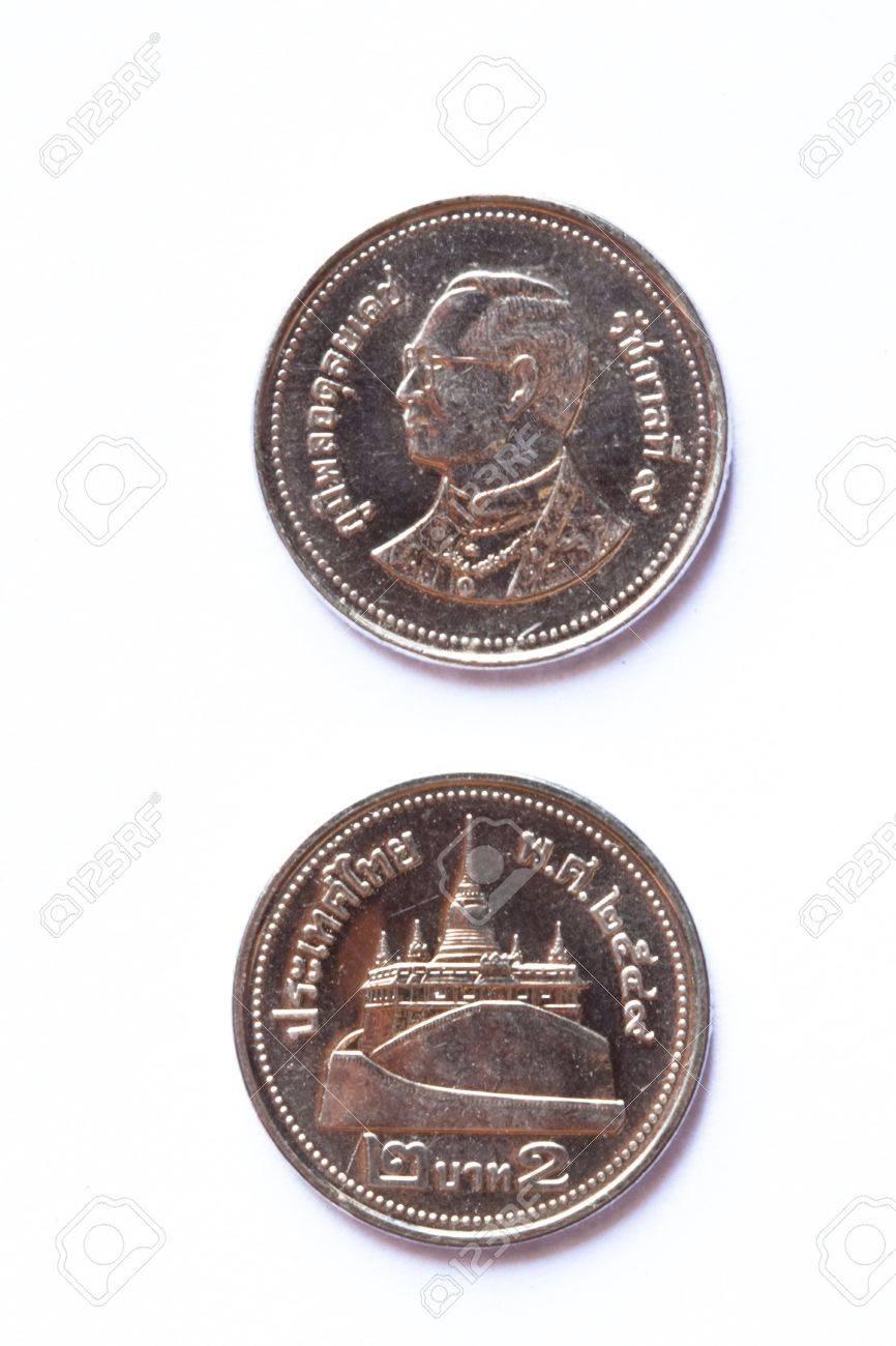 Münze Thailand 2 Baht Auf Weißem Hintergrund Lizenzfreie Fotos