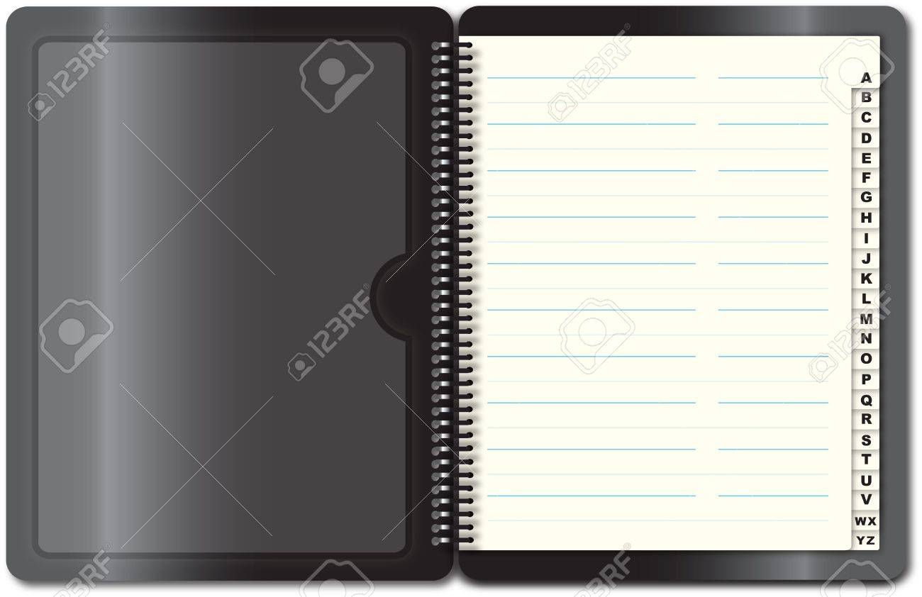 black address book open first page illustration stock photo