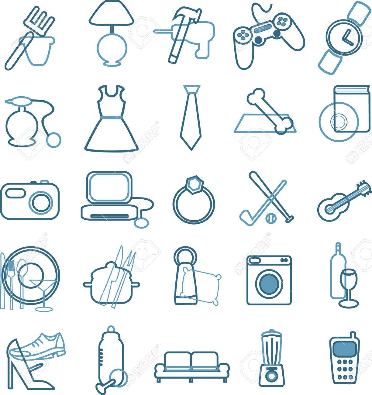 collection of department store menu icons Stock Vector - 5790449