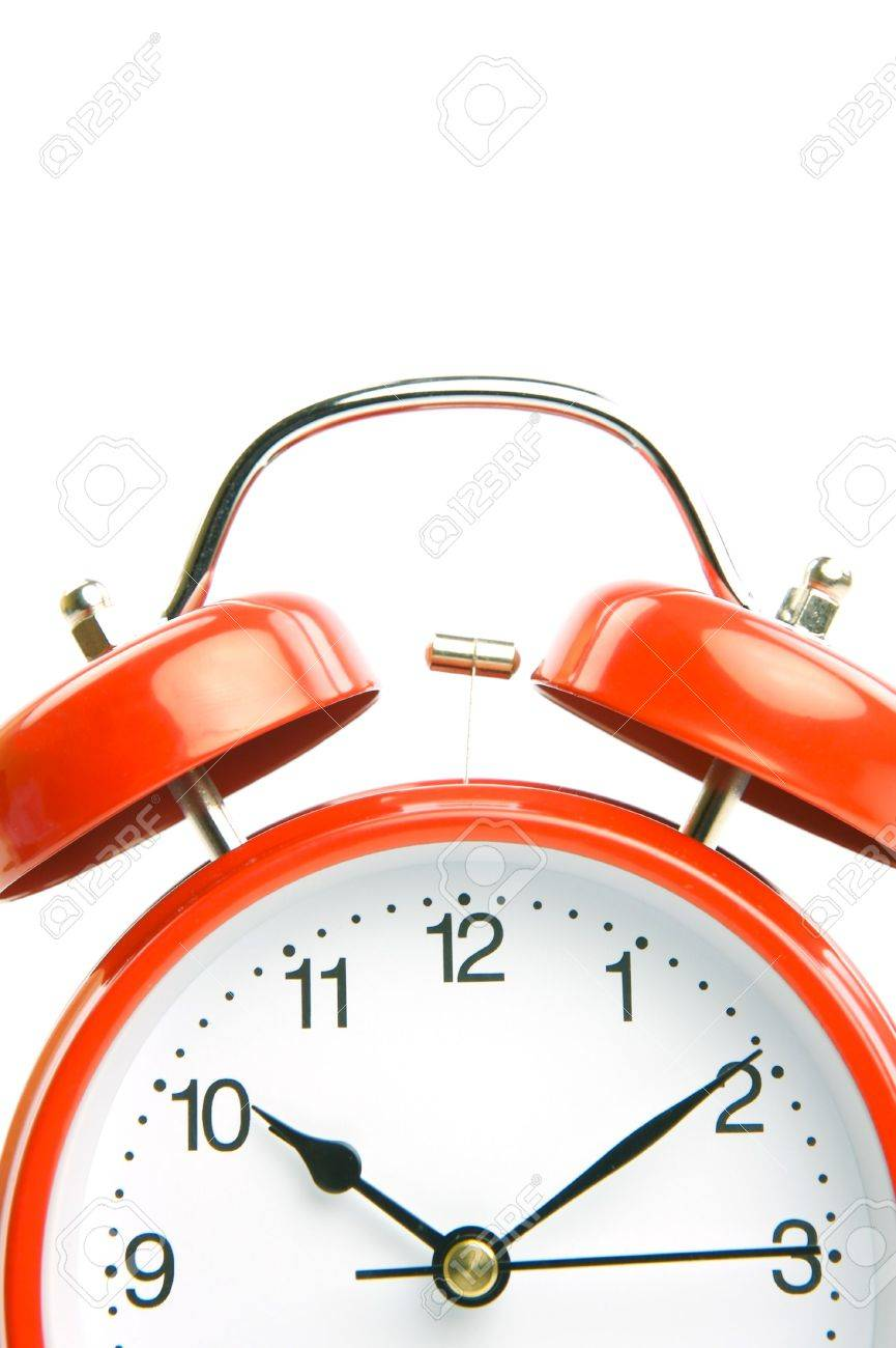 An old fahion analogue alarm clock set against a white background Stock Photo - 5508018