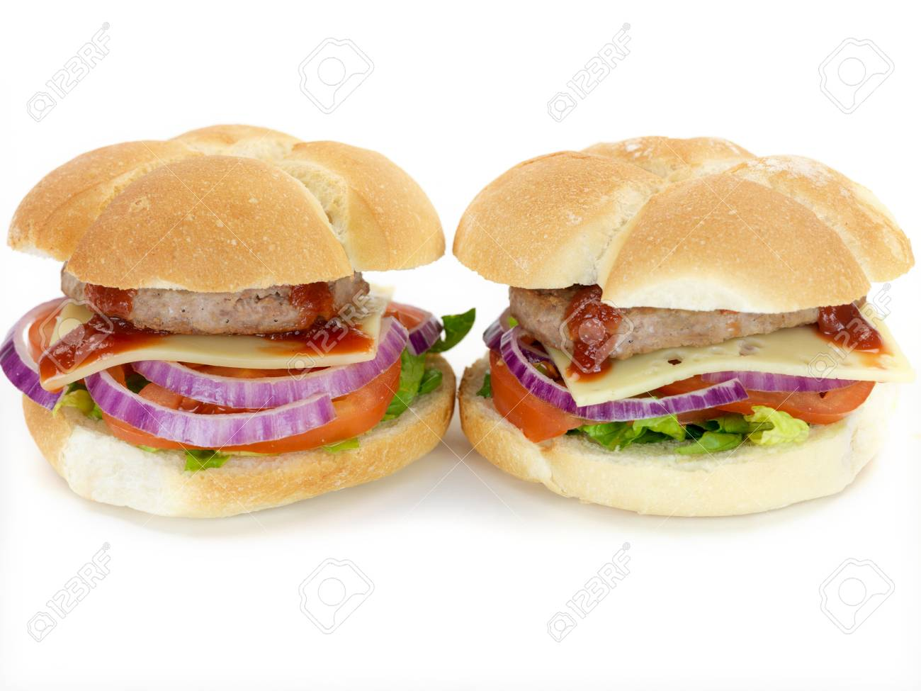 A freshly made American style hamburger with sauce Stock Photo - 7057577