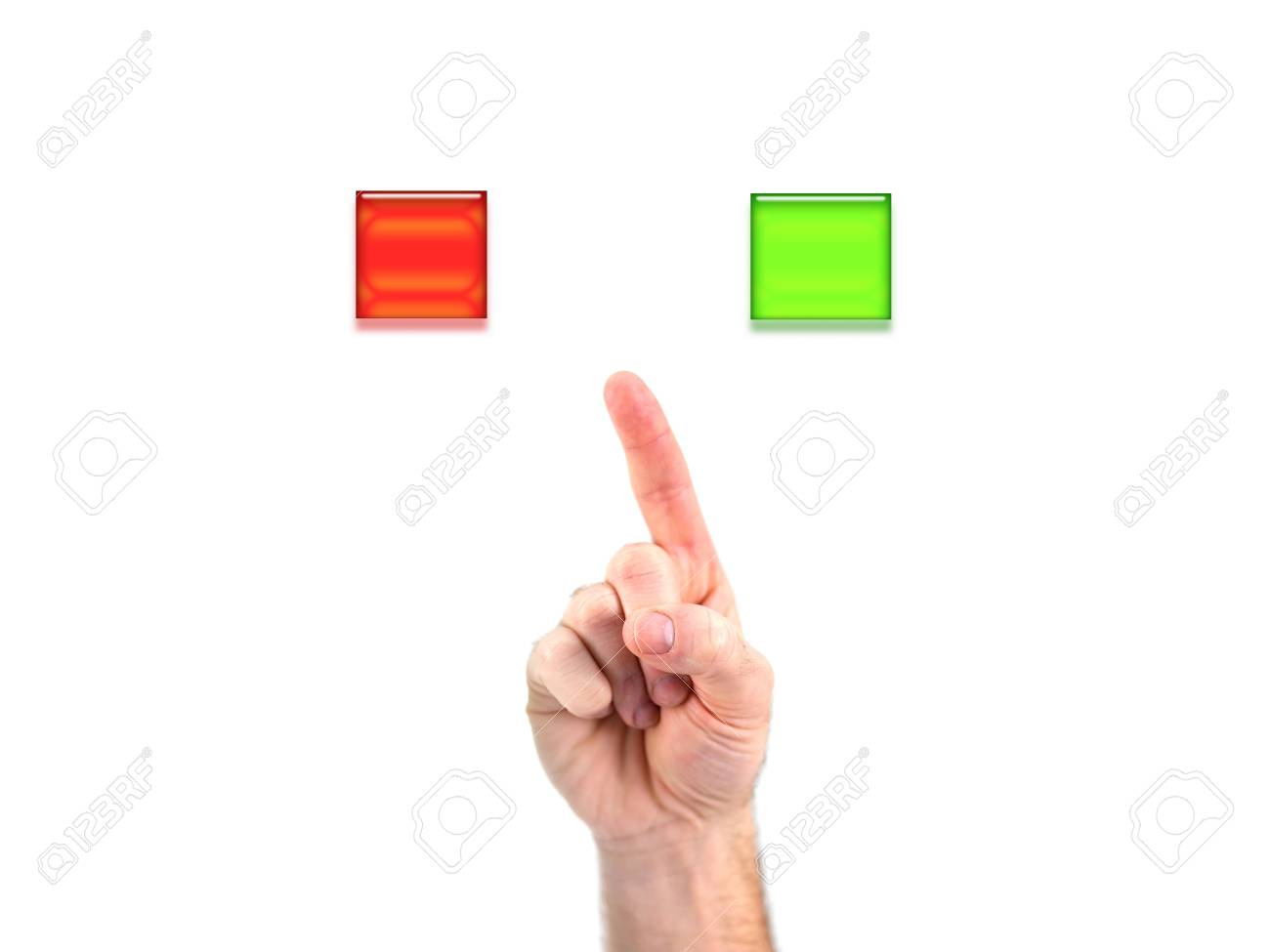 A male hand choosing yes or no Stock Photo - 9015944