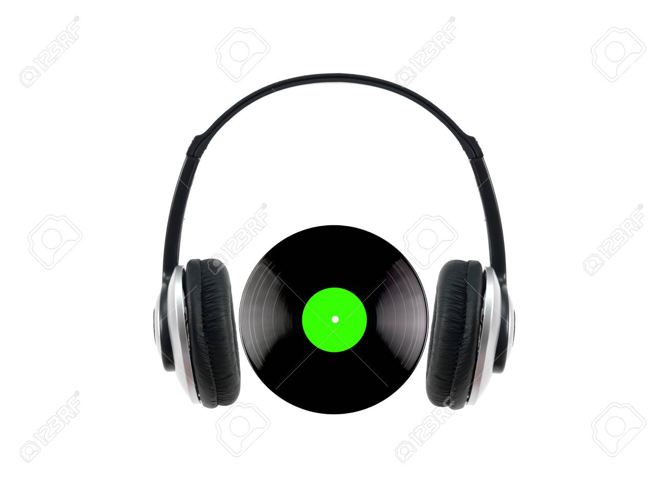 A vinyl record with headphones isolated against a white background Stock Photo - 9421294