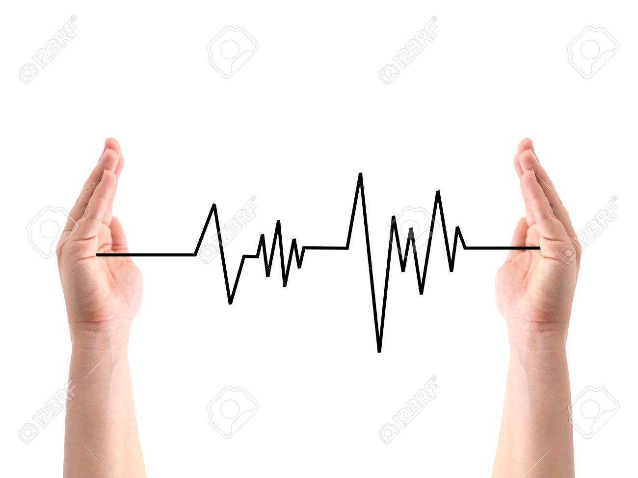 A heart rate line between two hands Stock Photo - 10572874