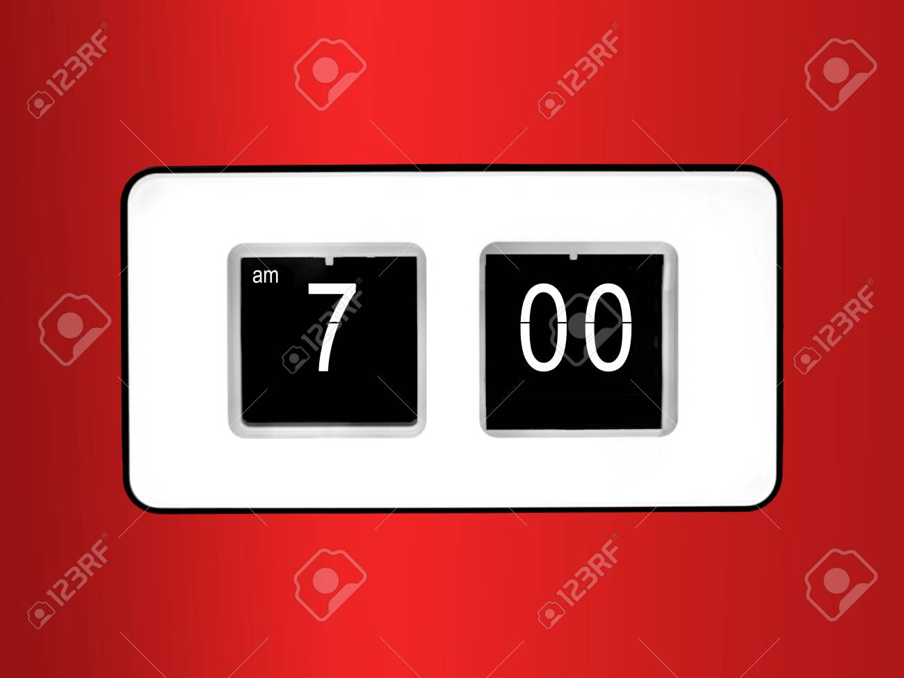 A flip clock isolated against a red background Stock Photo - 10572871