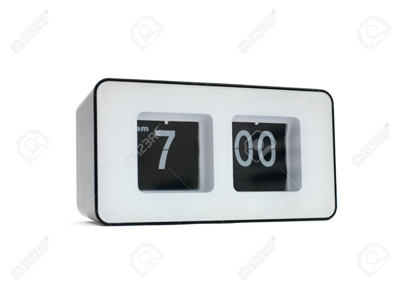 A flip clock isolated against a red background Stock Photo - 10614282