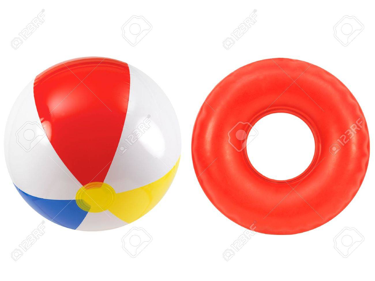 A beach ball and rubber tube together Stock Photo - 12388598