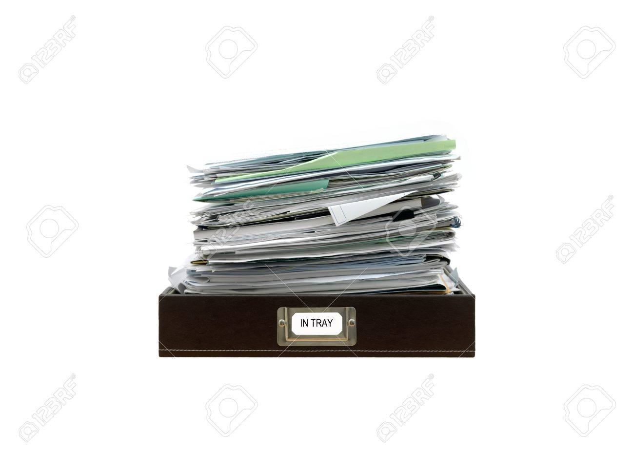 Office paper trays isolated against a white background Stock Photo - 13110564