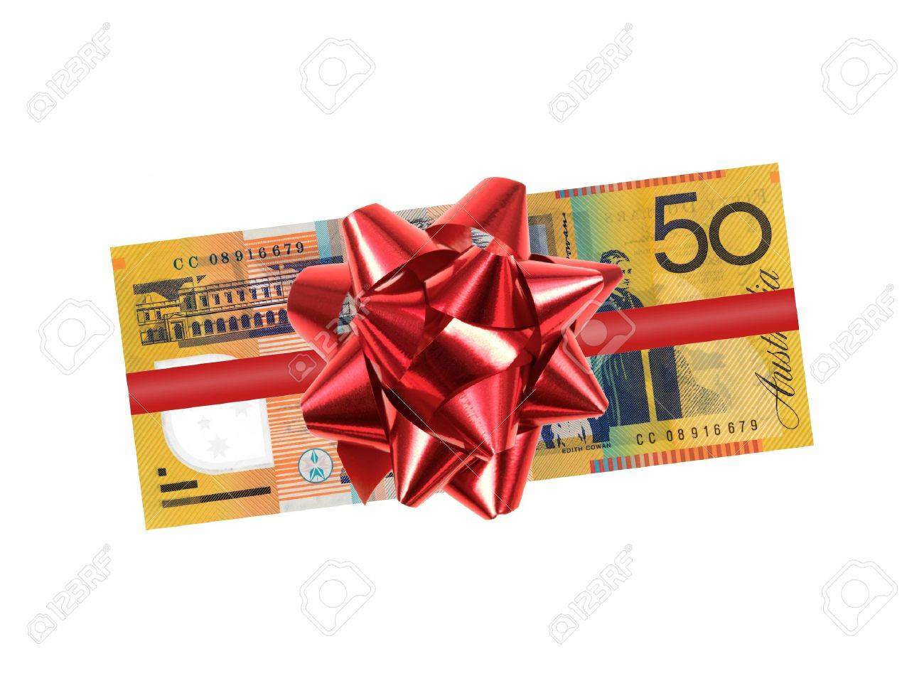 Australian fifty dollar note isolated against a white background Stock Photo - 15569199