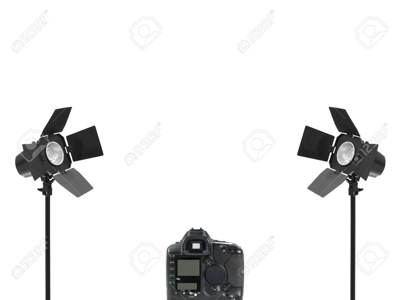 Stock Photo - Studio lighting equipment isolated against a white background  sc 1 st  123RF.com & Studio Lighting Equipment Isolated Against A White Background Stock ...