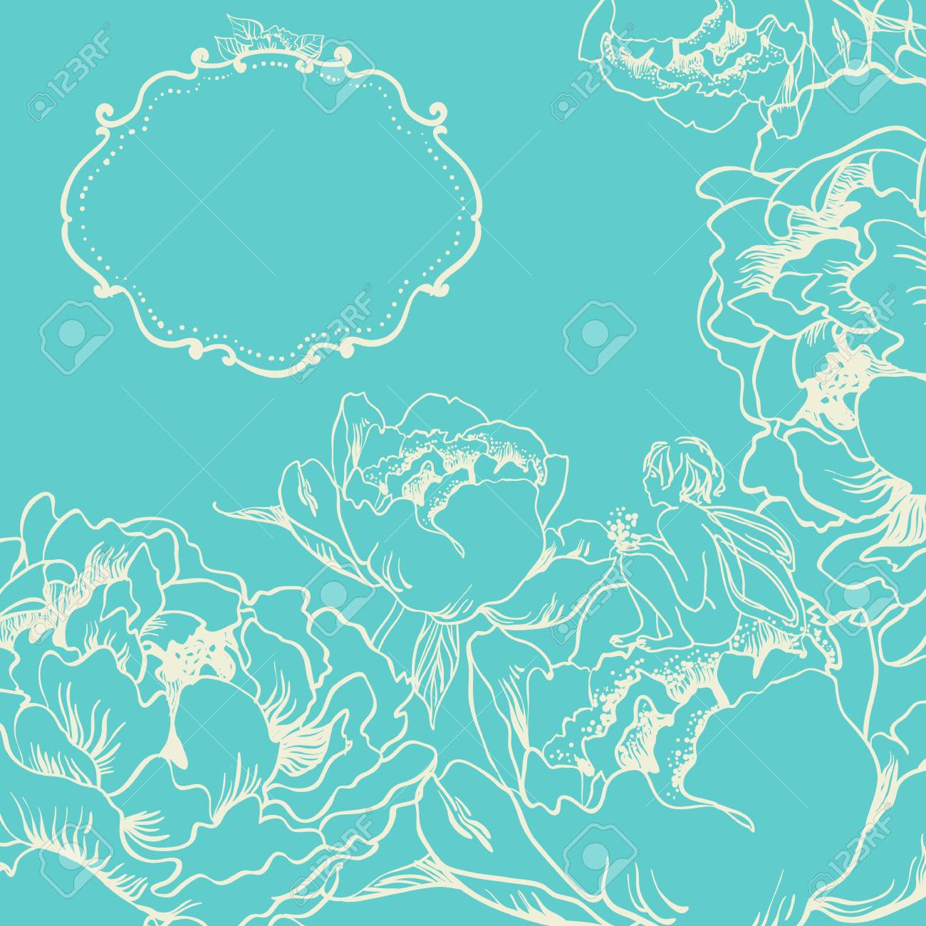 Card with flowers and little fairy Stock Vector - 20305664