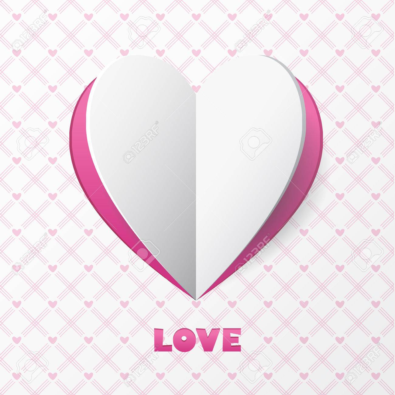 Paper Heart Love Card. Template For Design Greeting Card, Wedding ...