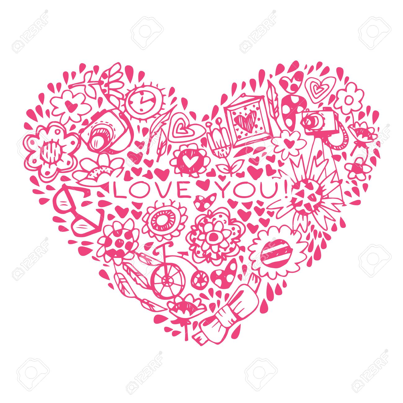 Heart Love Pattern. Template For Design Romantic Greeting Card ...