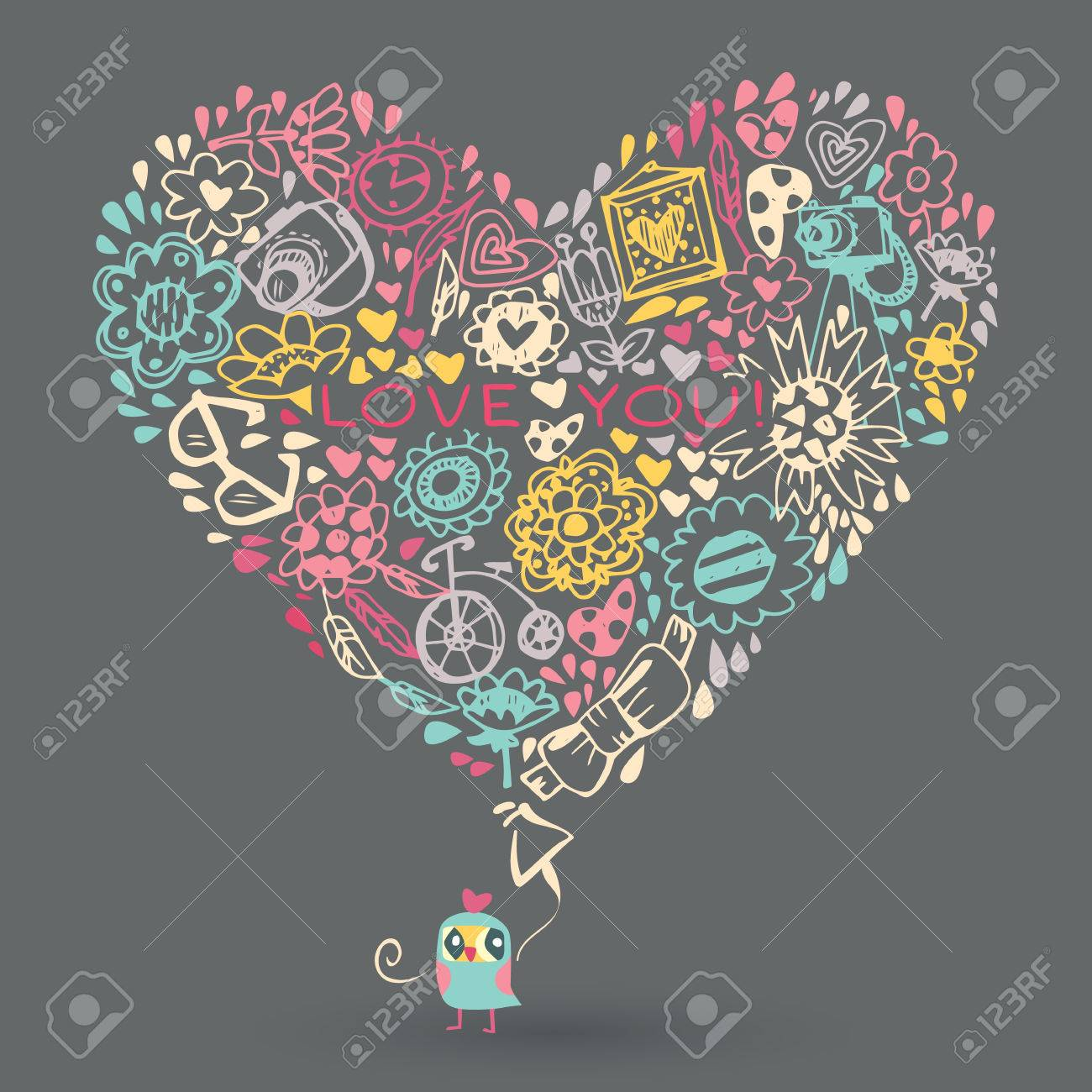 Heart Love Pattern And Owl Template For Design Romantic Greeting