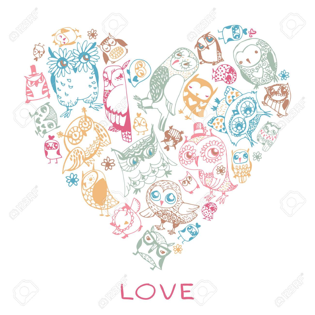 Heart Love Pattern With Owls Template For Design Romantic Greeting