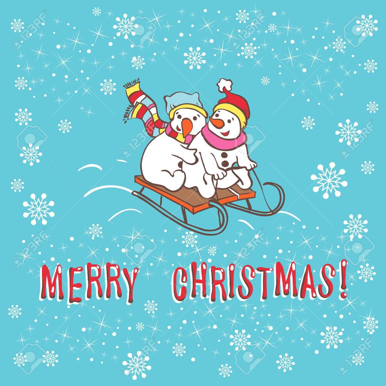Christmas Greeting Card Snowman Template For Christmas Winter