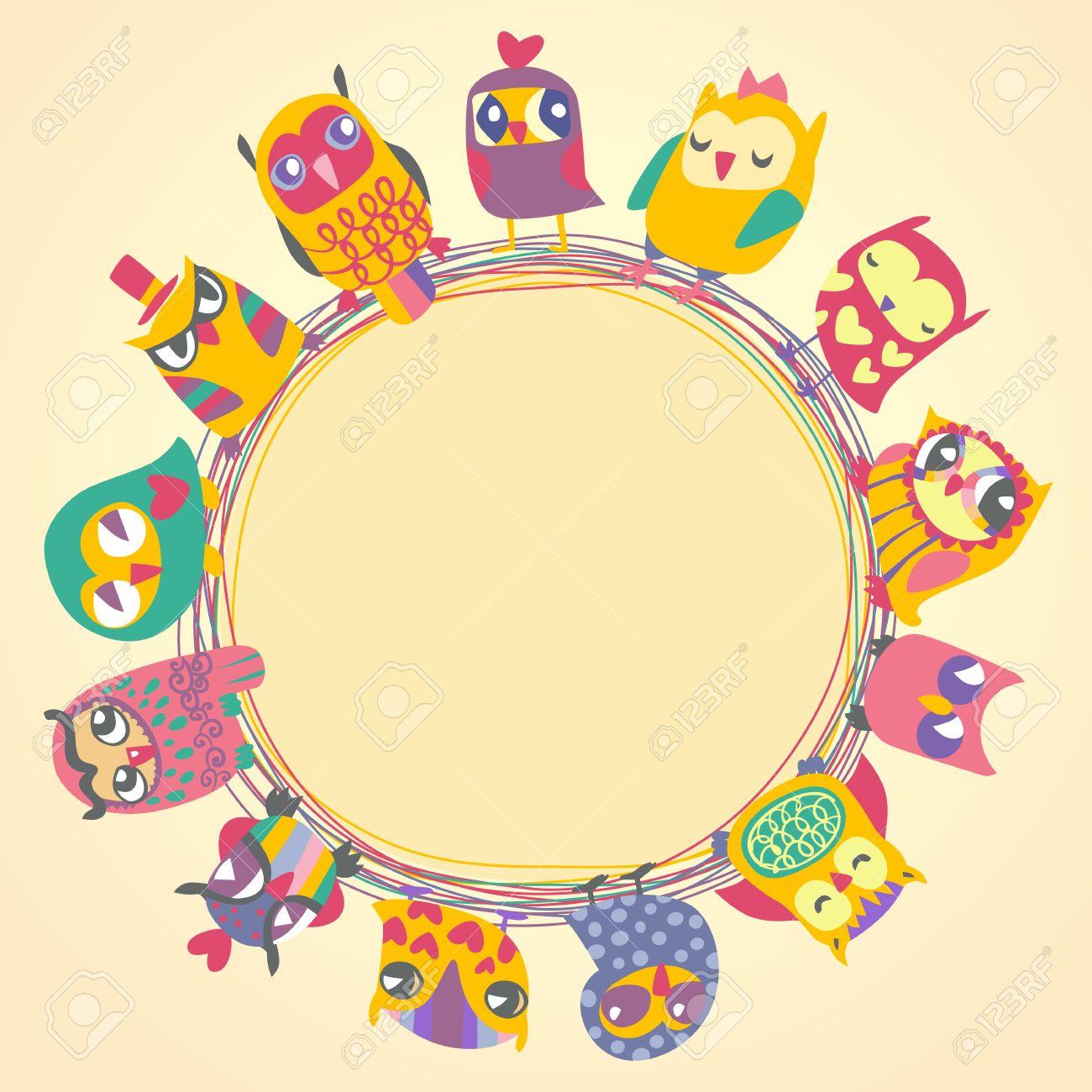 Childrens Hintergrund Mit Bunten Cartoon-Eulen Für Nette Karte ...