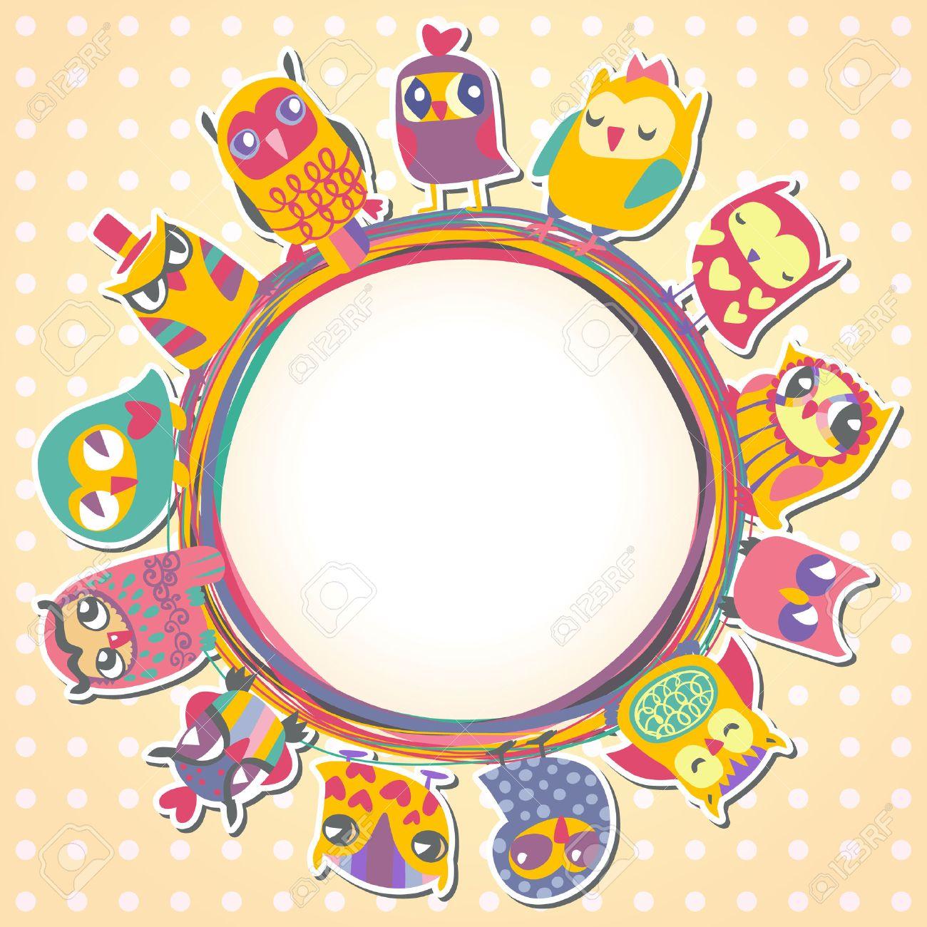 Childrens Fondo Con Los Búhos Multicolores De Dibujos Animados Para ...