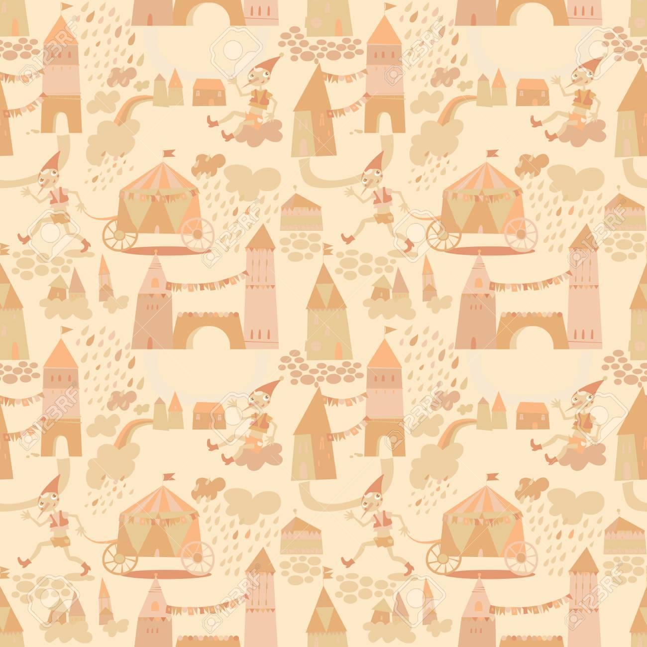 Carta Da Parati Bambini Texture.Vettoriale Seamless Pattern Con Case Per Bambini Sfondo