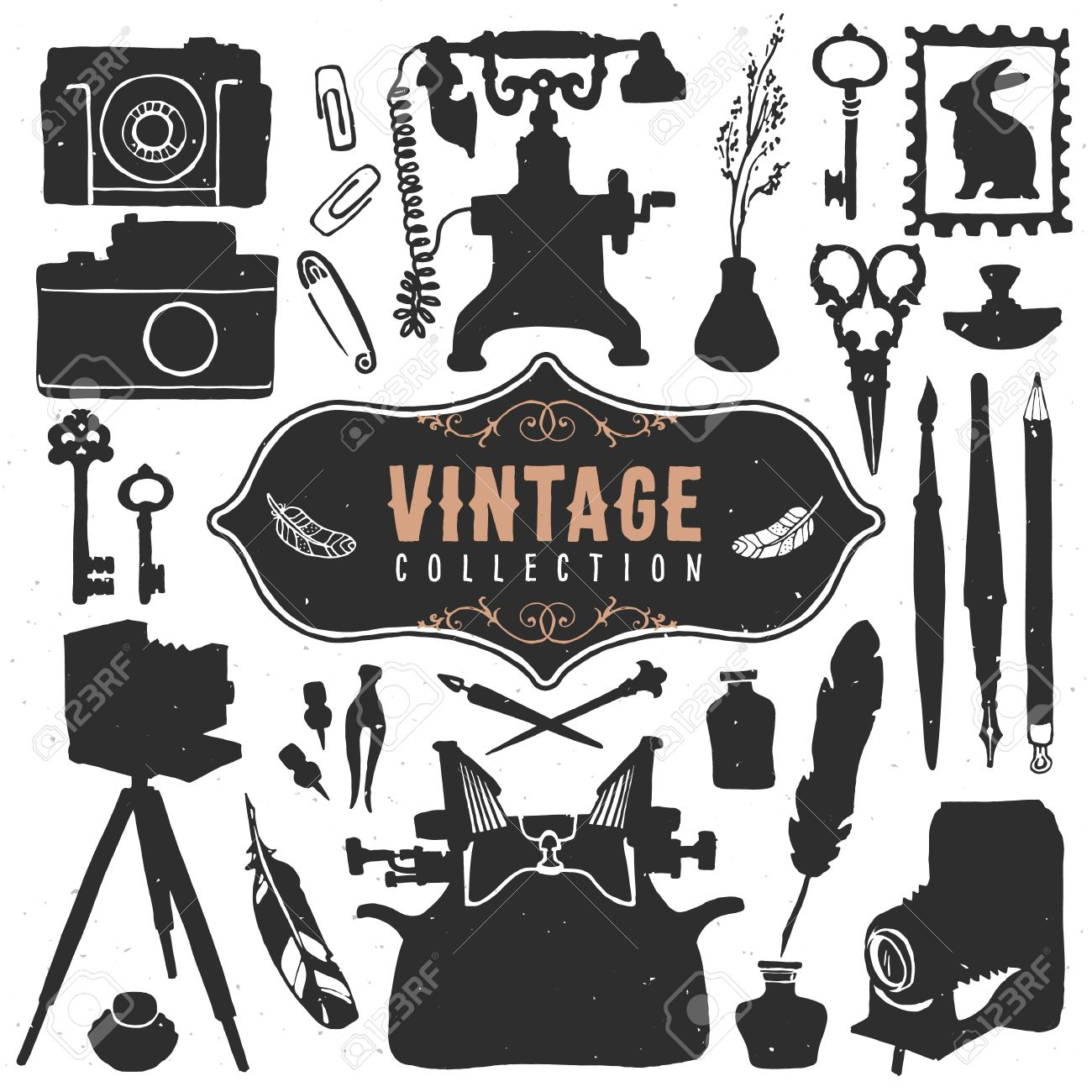 Vintage Retro Old Things Collection. Stock Vector   32407710