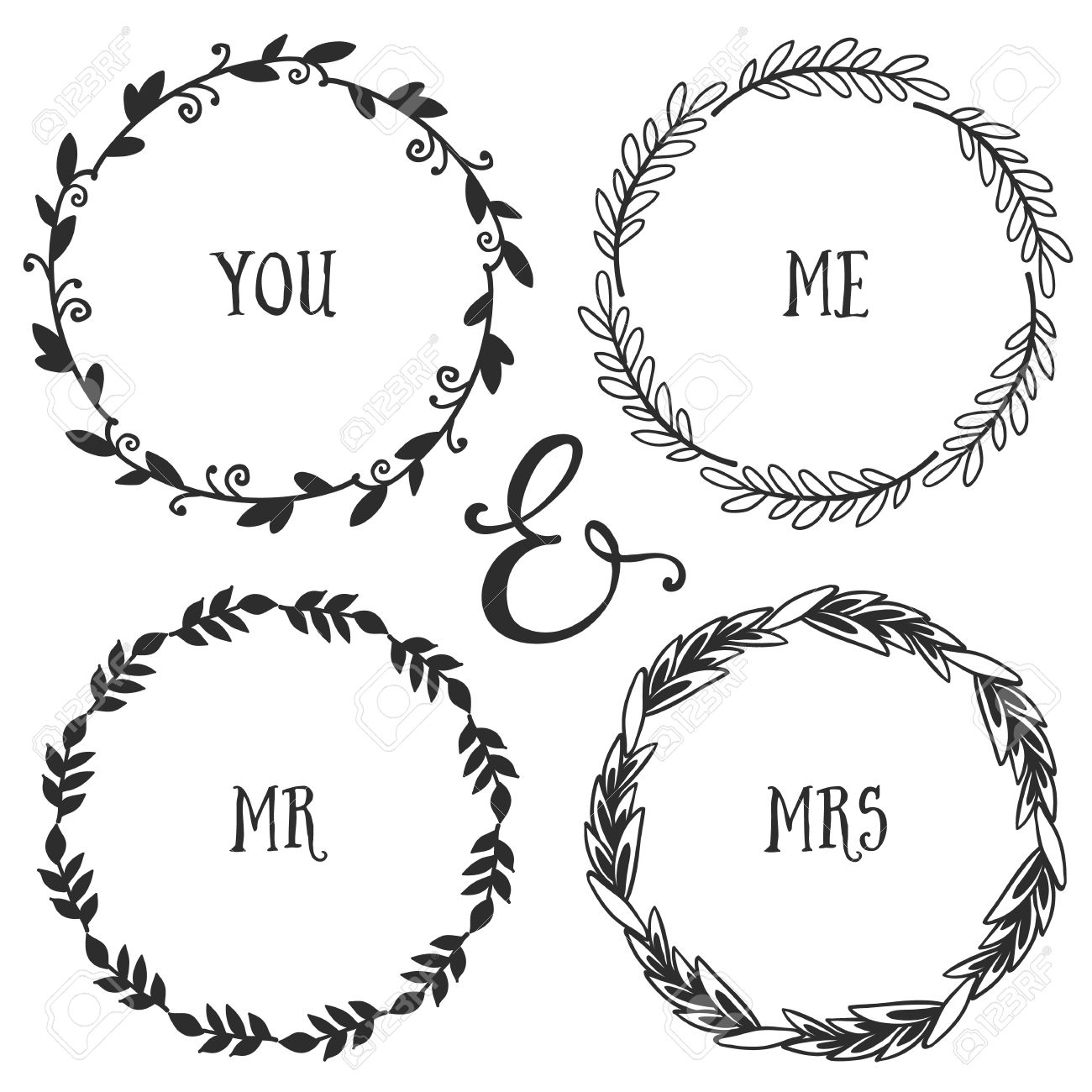 hand drawn rustic vintage wreaths with lettering floral vector graphic nature design elements
