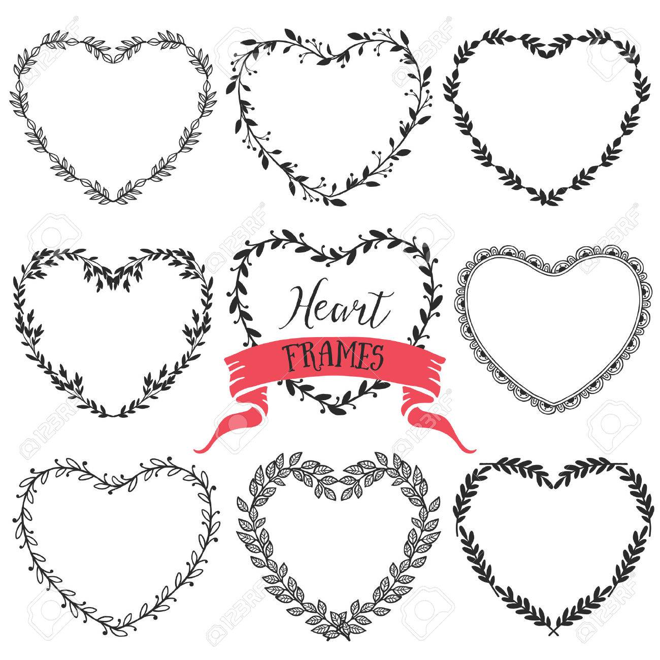 Hand Drawn Rustic Vintage Heart Wreaths Floral Vector Graphic Nature Design Elements Stock