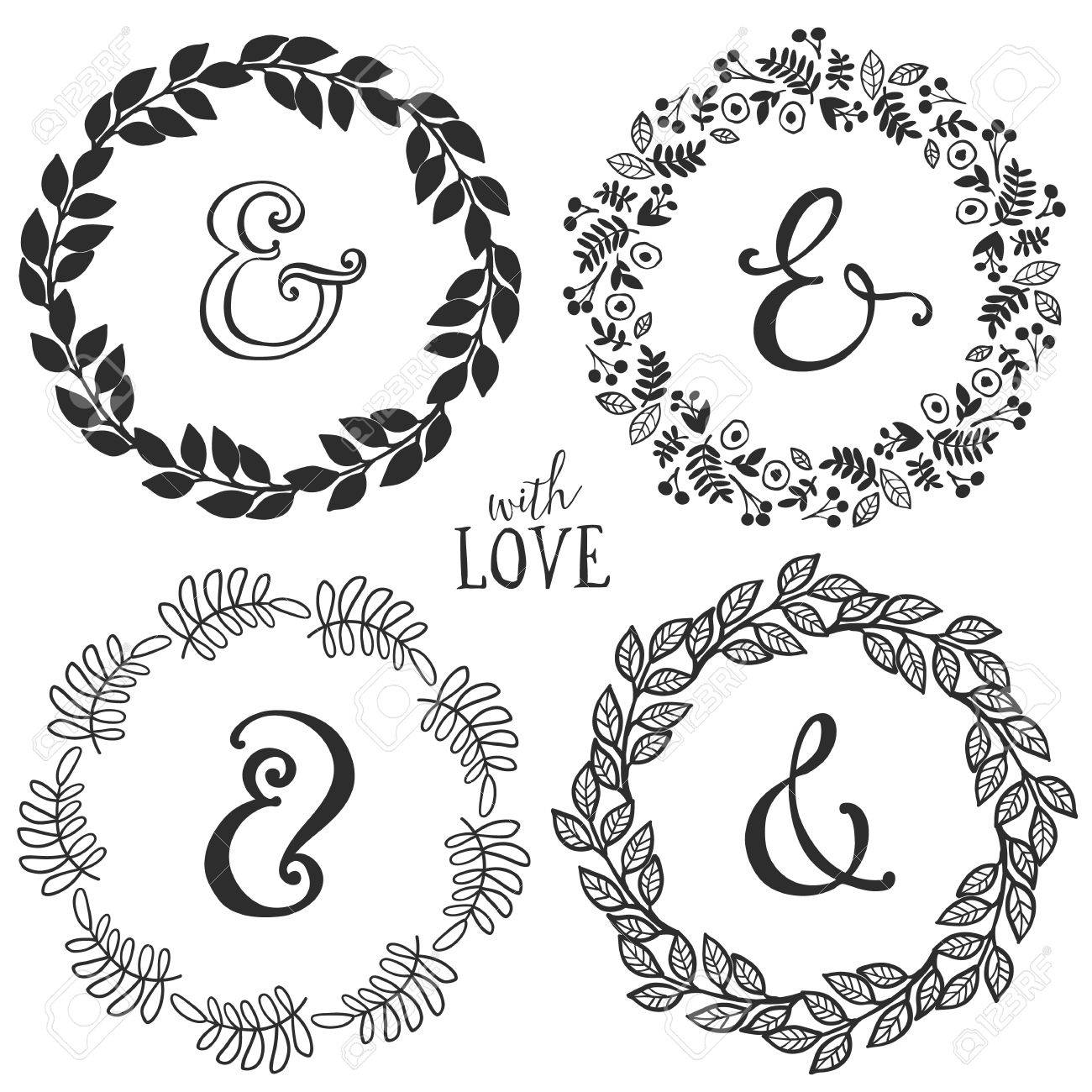 hand drawn rustic vintage wreaths with lettering and ampersand floral vector graphic nature design