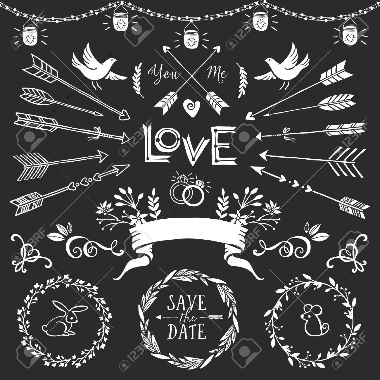 Vintage decorative elements with lettering hand drawn vector vintage decorative elements with lettering hand drawn vector design wedding set stock vector junglespirit Images