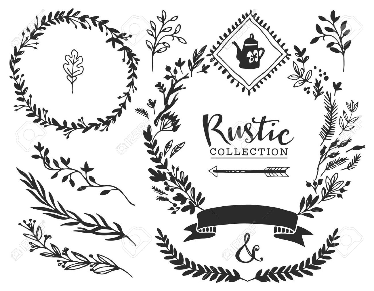 Rustic decorative elements with lettering. Hand drawn vintage vector design set. - 40000136