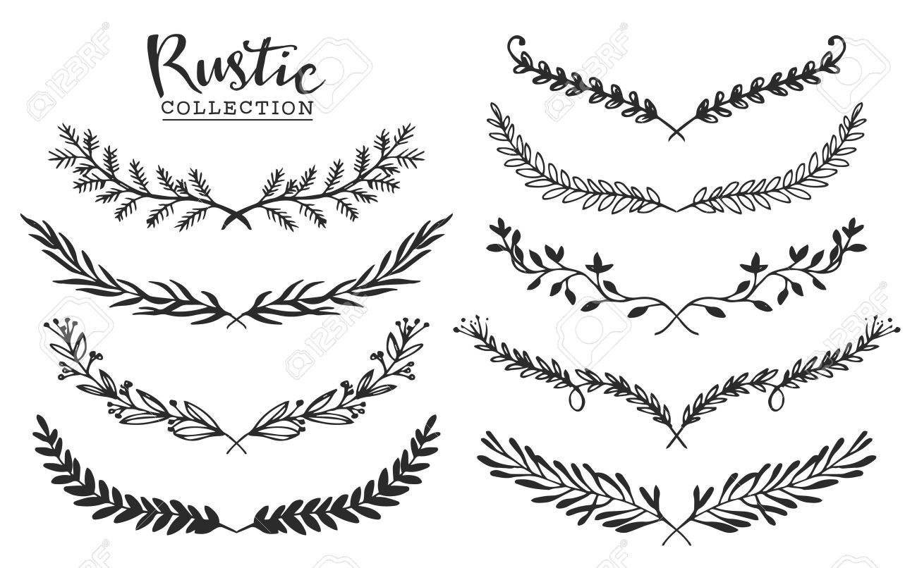 vintage set of hand drawn rustic laurels floral vector graphic