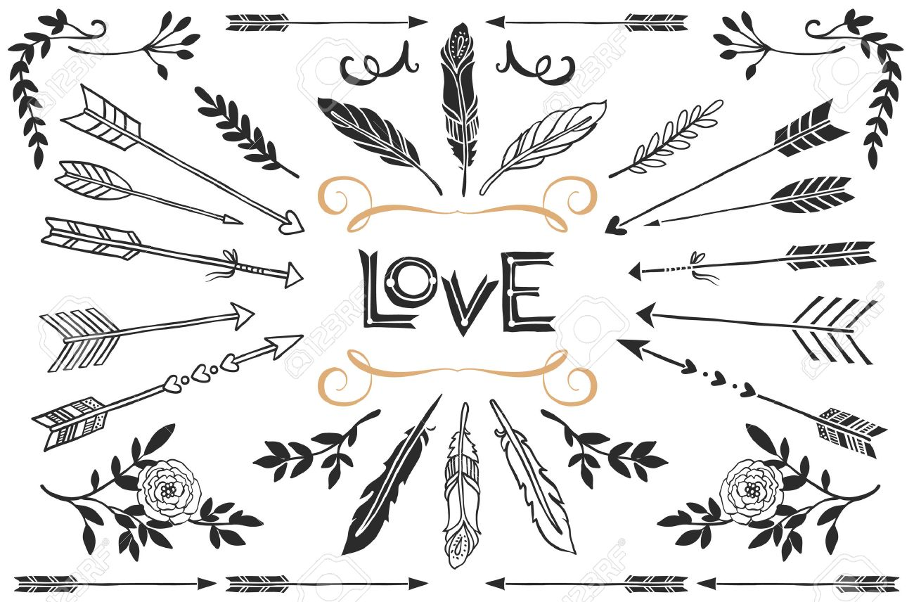 rustic tags hand drawn vintage arrows feathers and flowers with lettering romantic