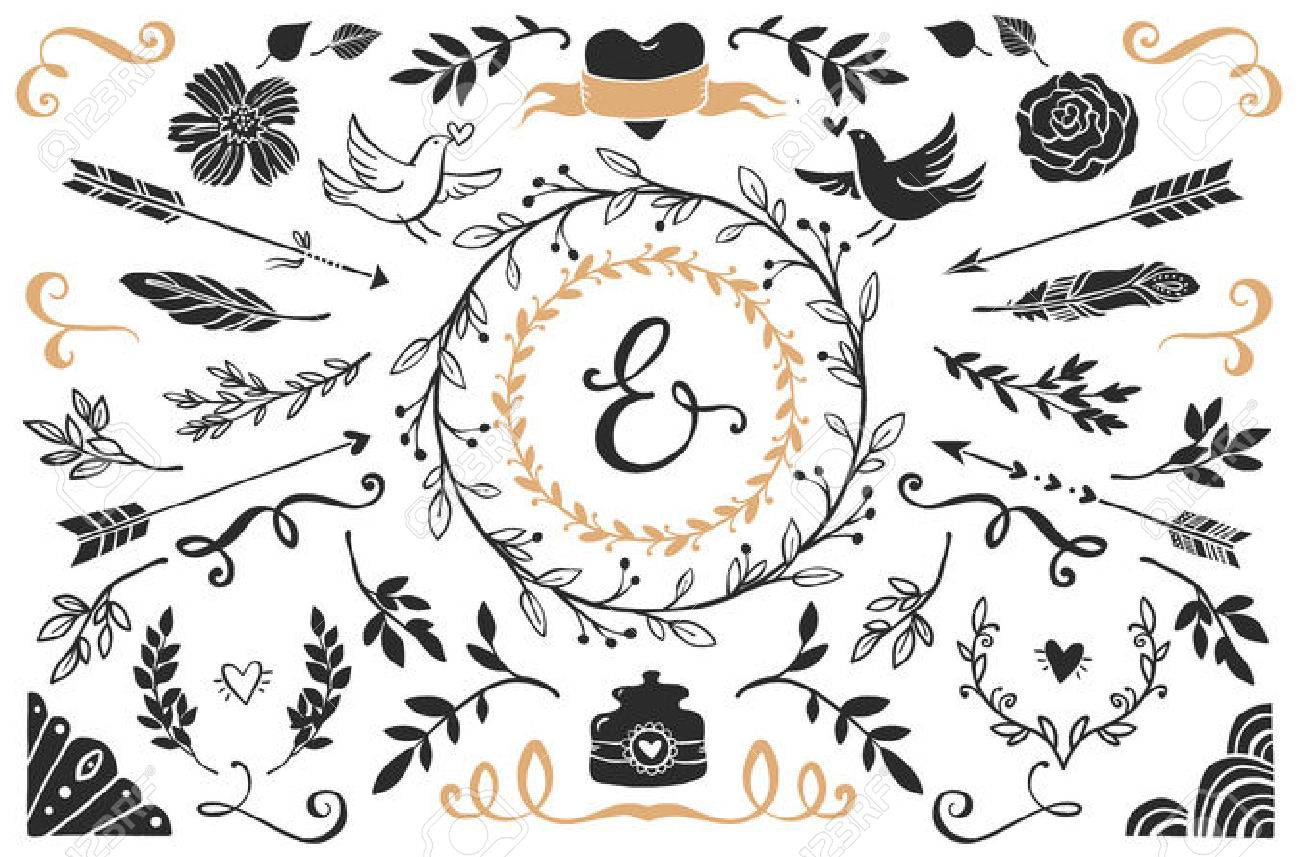 hand drawn vintage decorative elements with lettering romantic vector design wedding set stock vector