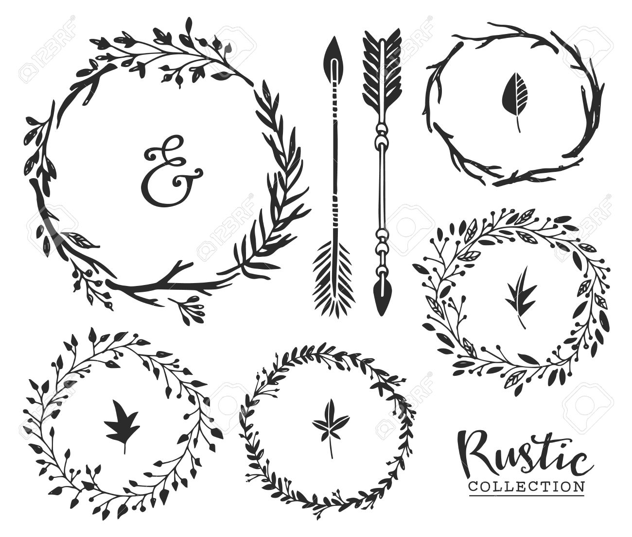 Hand Drawn Vintage Ampersand Arrows And Wreaths Rustic Decorative Vector Design Set Stock