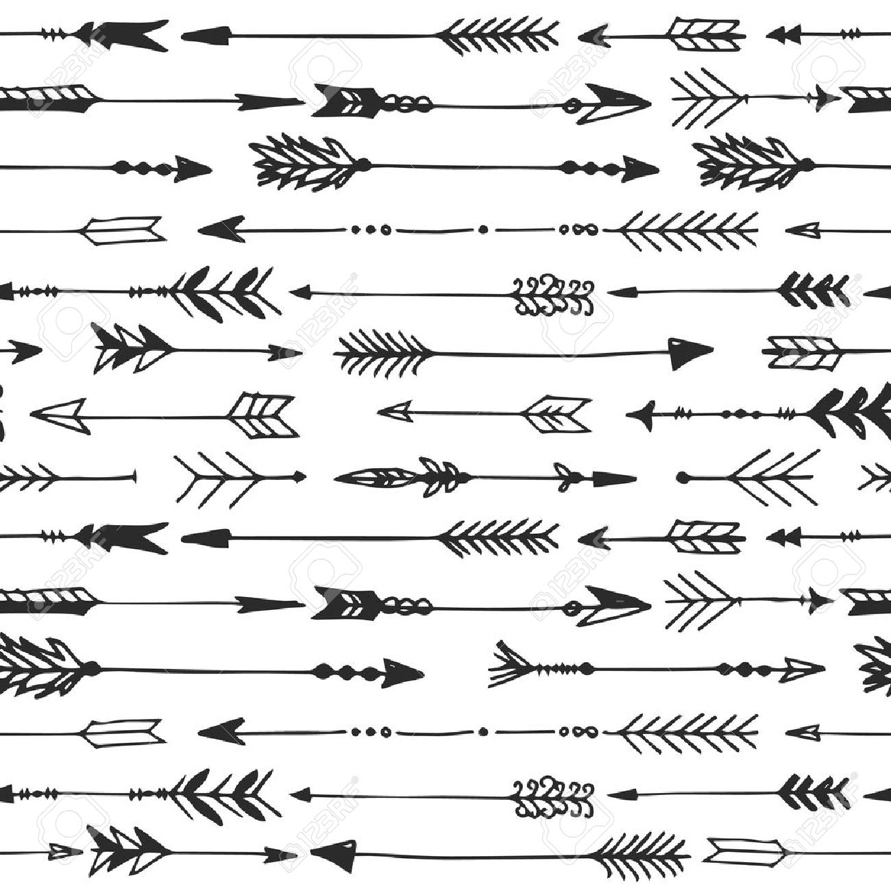 Arrow Rustic Seamless Pattern Hand Drawn Vintage Vector Background Decorative Design Illustration Stock