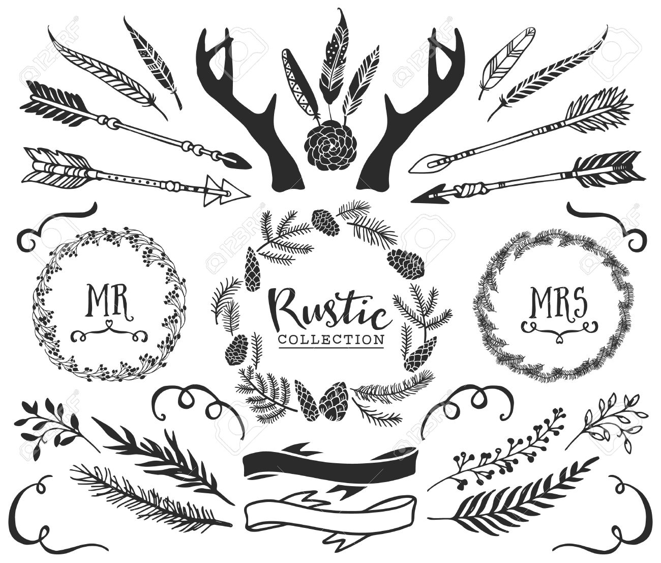hand drawn antlers arrows feathers ribbons and wreaths with lettering rustic decorative