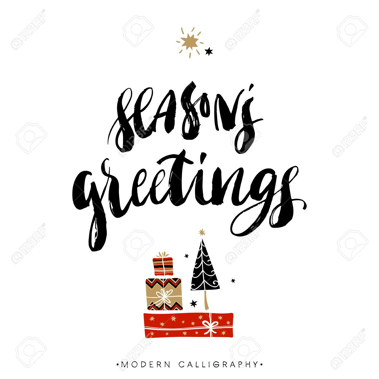 Seasons greetings christmas calligraphy handwritten modern seasons greetings christmas calligraphy handwritten modern brush lettering hand drawn design elements kristyandbryce Choice Image