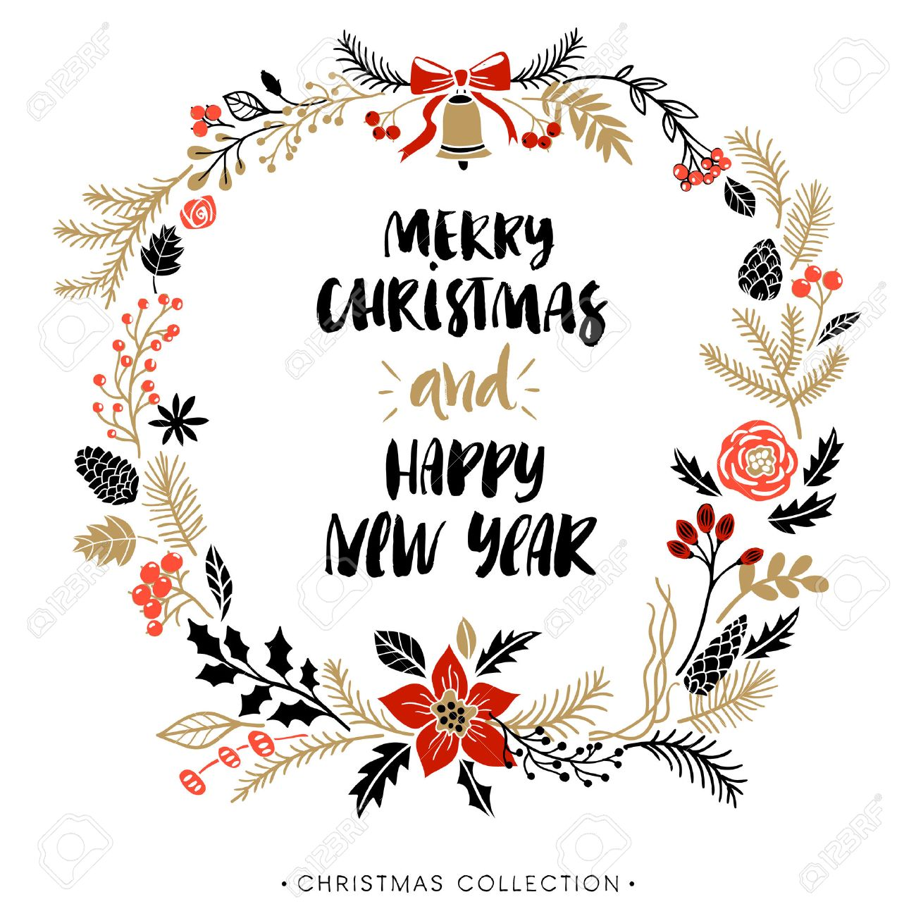 christmas greeting wreath with calligraphy happy new year and merry christmas handwritten modern brush