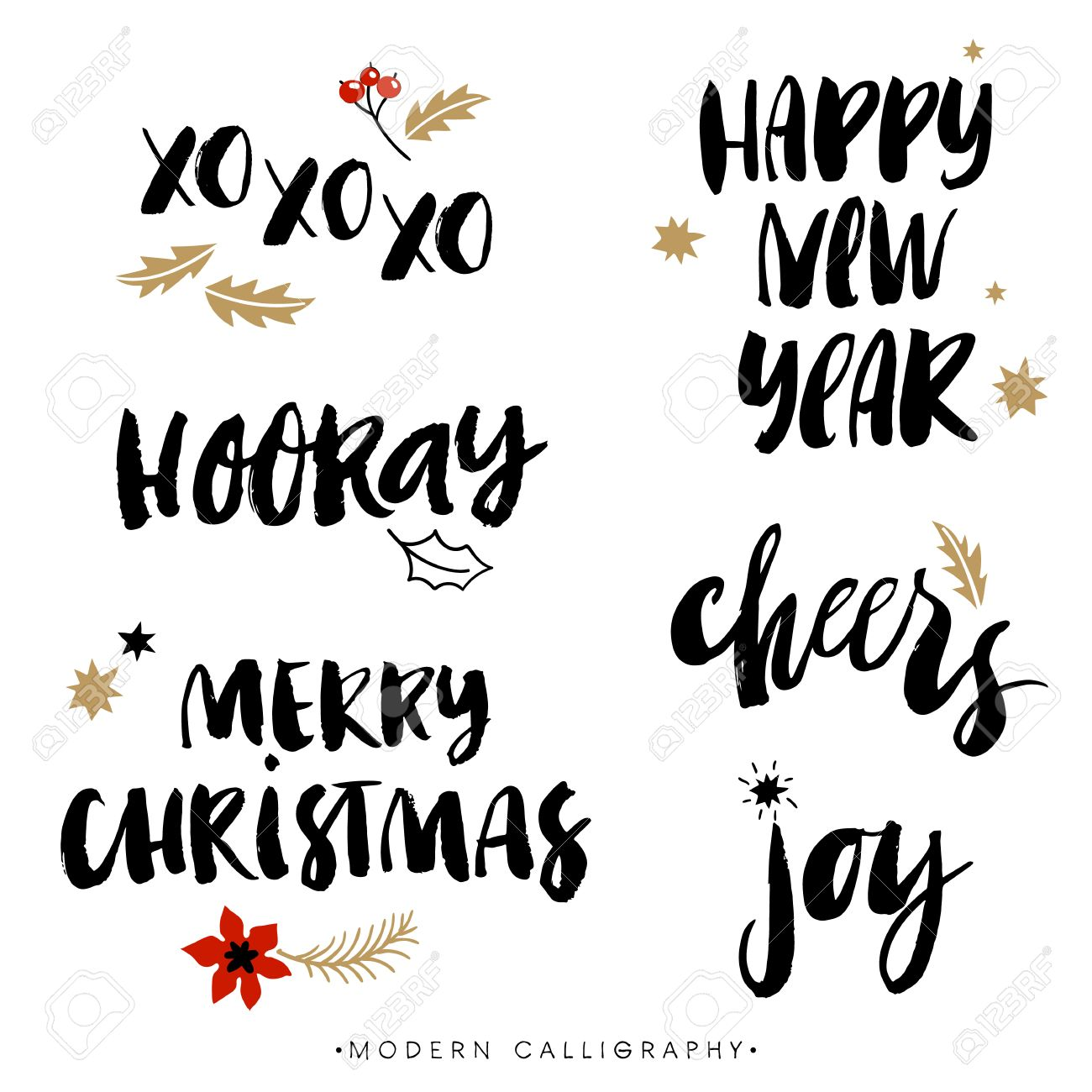 Christmas calligraphy phrases. XOXO. Happy New Year. Merry Christmas. Hooray. Cheers. Joy. Handwritten modern brush lettering. Hand drawn design elements. - 47968960