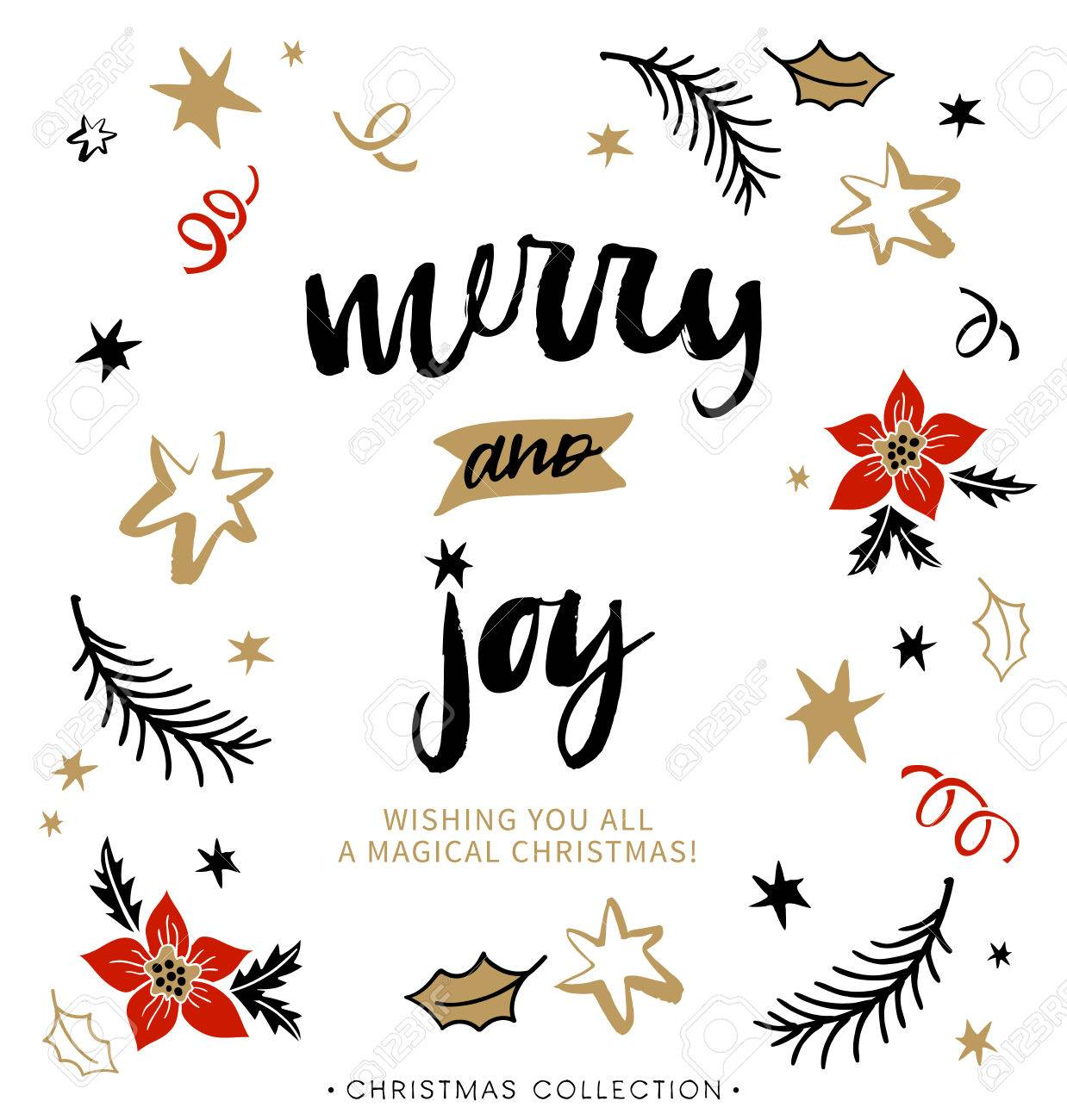 Merry And Joy. Christmas Greeting Card With Calligraphy. Handwritten ...