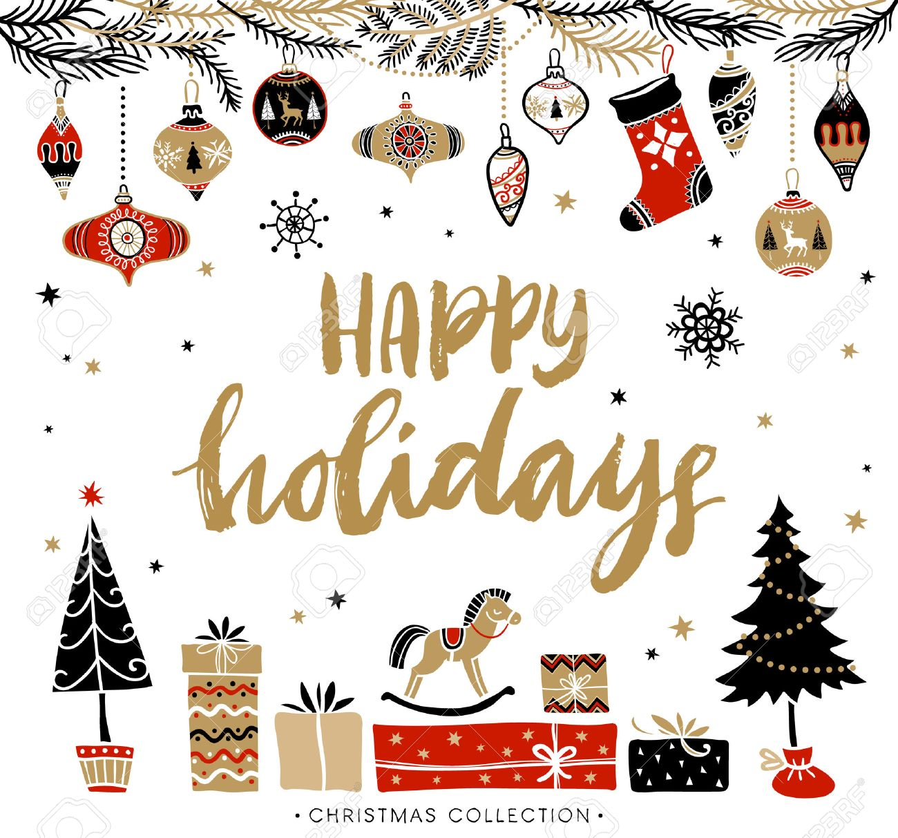 Happy Holidays. Christmas greeting card with calligraphy. Handwritten modern brush lettering. Hand drawn design elements. - 48674071
