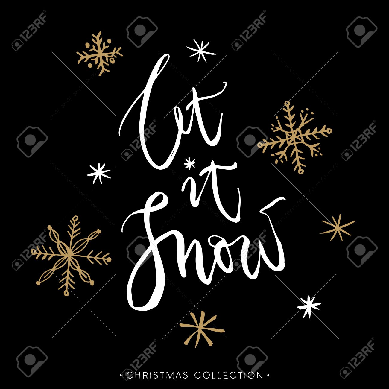 Let it snow! Christmas greeting card with calligraphy. Handwritten modern brush lettering. Hand drawn design elements. - 49114651