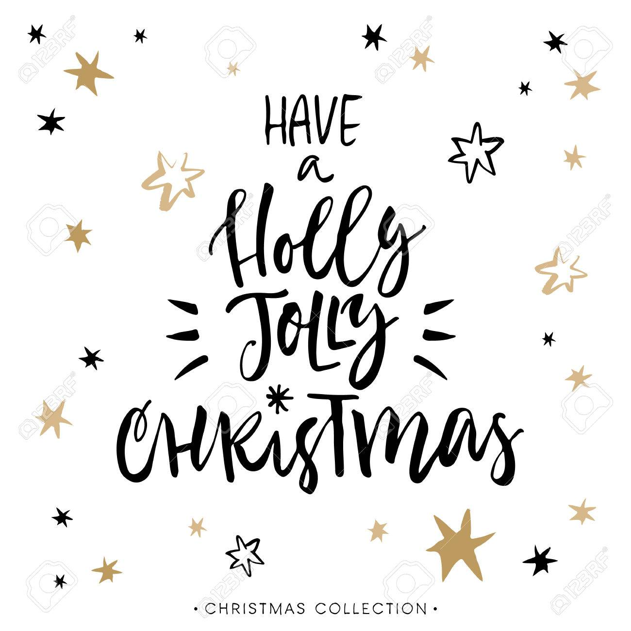 Have a Holly Jolly Christmas! Christmas greeting card with calligraphy. Handwritten modern brush lettering. Hand drawn design elements. - 49114656
