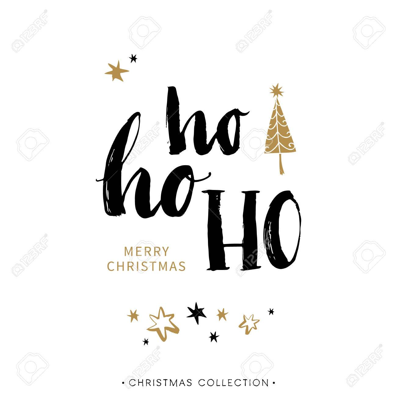 Merry Christmas Greeting Card With Calligraphy. Ho Ho Ho ...