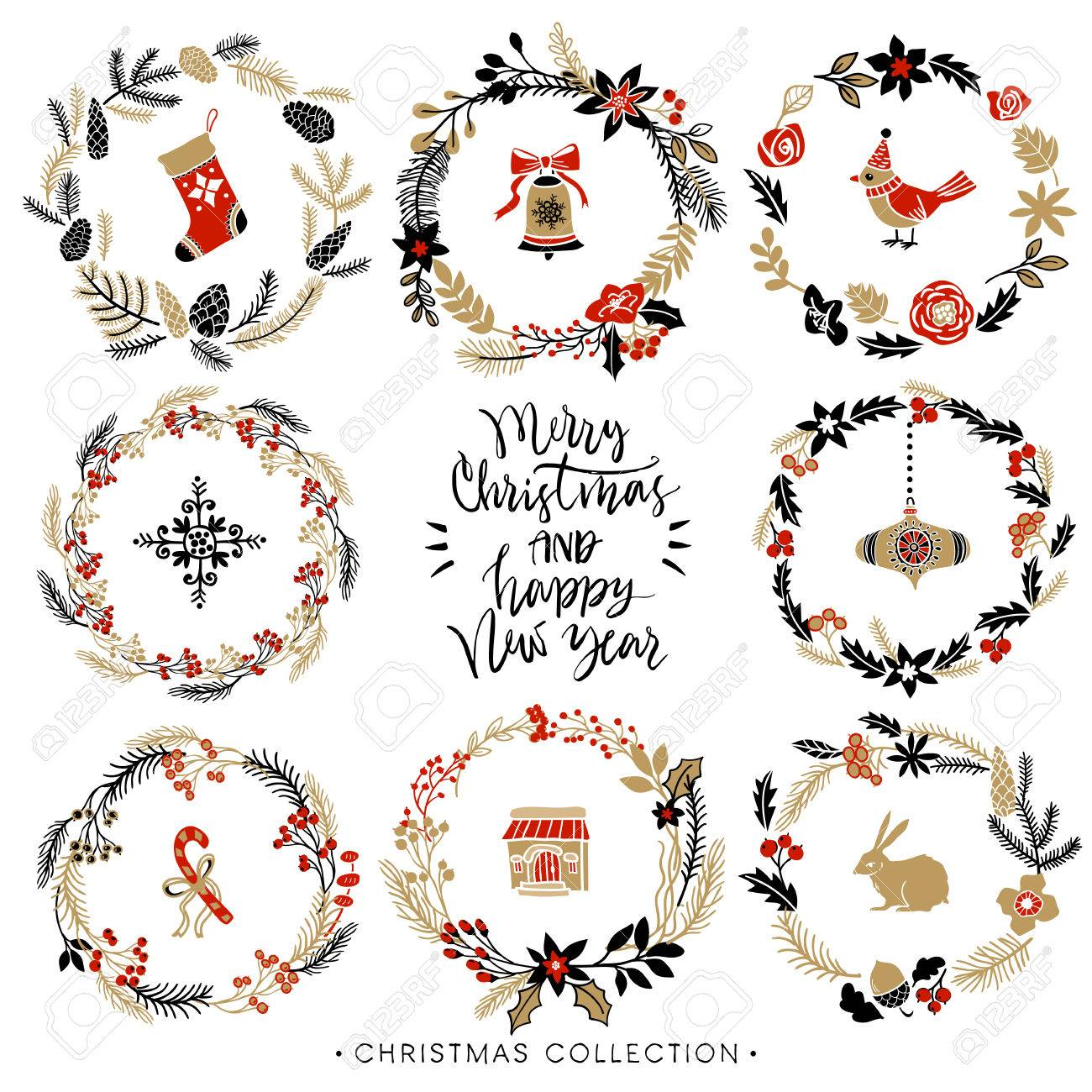 Christmas greeting wreaths with calligraphy. Hand drawn design elements. Handwritten modern brush lettering. - 49204284