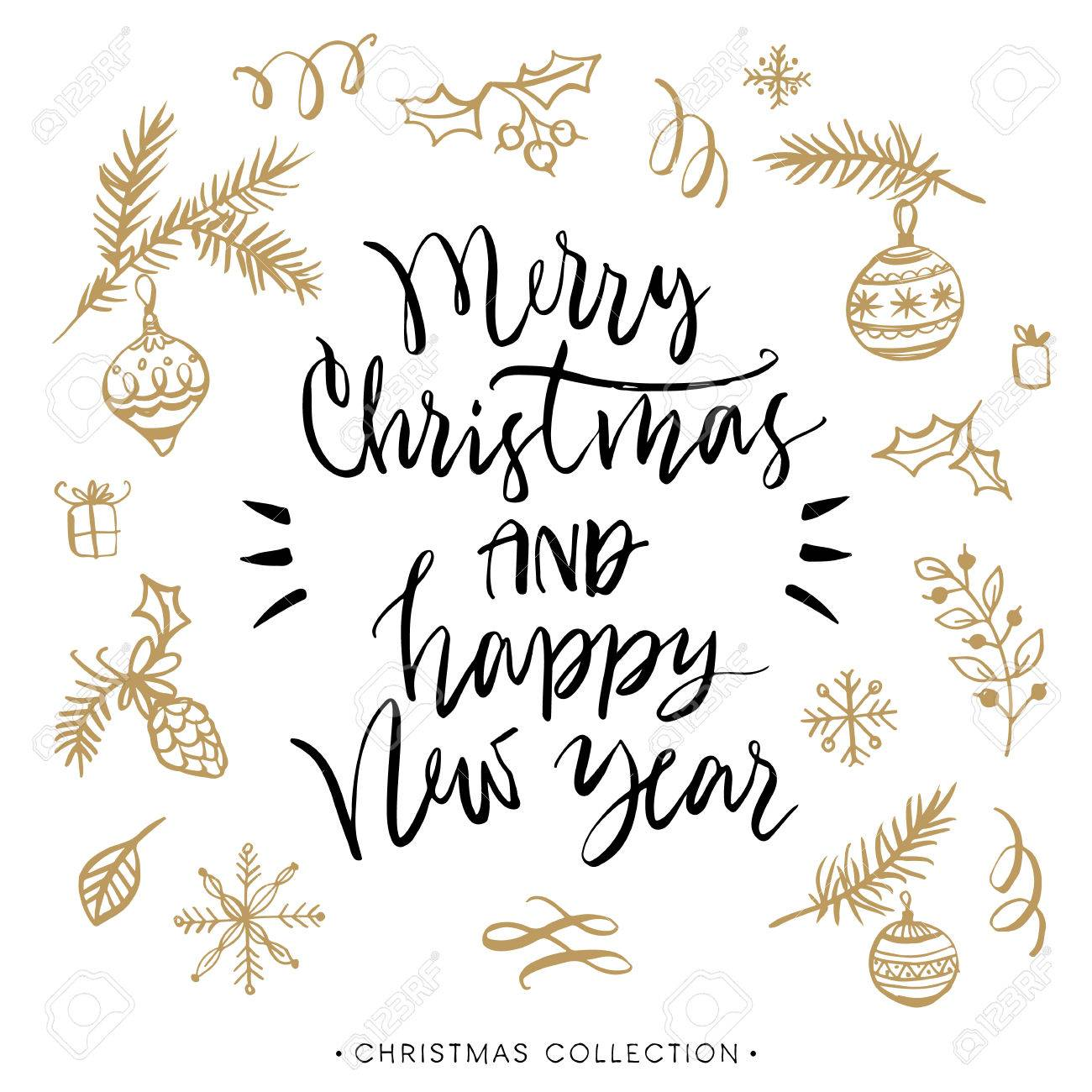Merry christmas and happy new year christmas greeting card with merry christmas and happy new year christmas greeting card with calligraphy handwritten modern brush kristyandbryce Images