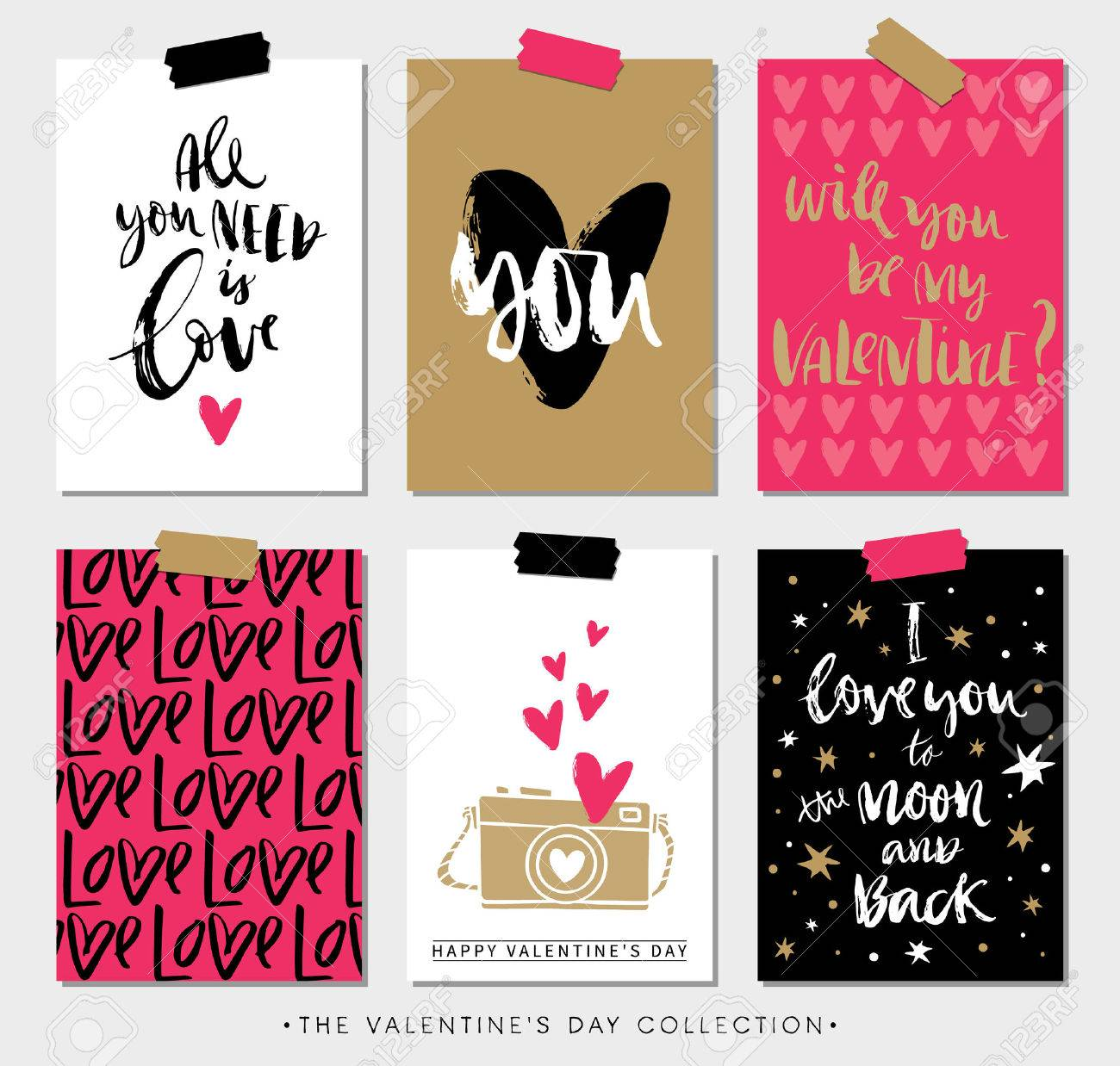 Valentines day gift tags and cards with calligraphy. Hand drawn design elements. Handwritten modern lettering. - 50909205