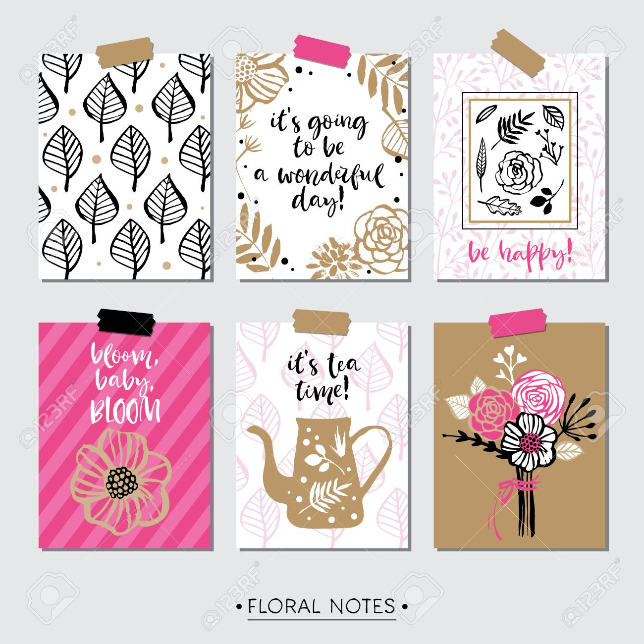 Feminine Pink Floral Greeting Cards With Inspirational Quotes